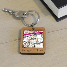 Personalised Wooden Celtic-Celtic Park Stadium Map Keyring