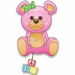 Girls Personalised Pink Teddy Bear Quartz Wall Clock with Pendulum