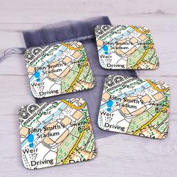 Set Of 4 Huddersfield Town-John Smith's Stadium Map Coasters