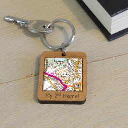 Personalised Wooden Newcastle United-St James' Park Map Keyring