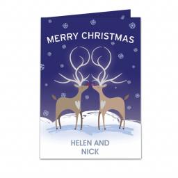 Personalised Reindeer Couple Christmas Card