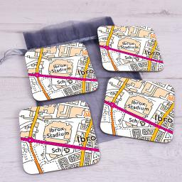 Set Of 4 Rangers-Ibrox Stadium Map Coasters