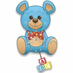 Boy's Personalised Blue Teddy Bear Quartz Wall Clock with Pendulum