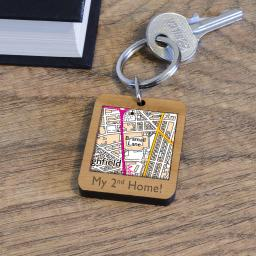Personalised Wooden Sheffield United-Bramhall Lane Map Keyring