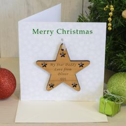 Personalised Christmas Card with Cherry Wood Star Tree Decoration