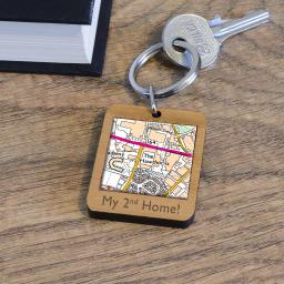 Personalised Wooden West Bromwich Albion-The Hawthorns Stadium Map Keyring