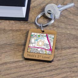Personalised Wooden Manchester City-Etihad Stadium Map Keyring