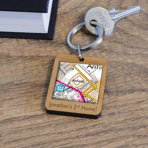 Personalised Wooden Liverpool-Anfield Stadium Map Keyring