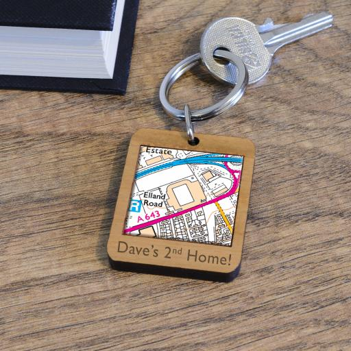Personalised Wooden Leeds United-Elland Road Stadium Map Keyring