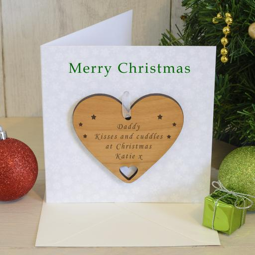 Personalised Christmas Card with Cherry Wood Heart Tree Decoration