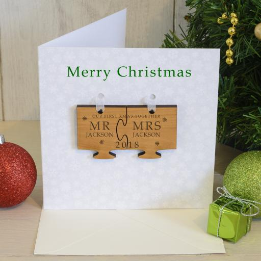 Personalised Our First Christmas Card with Cherry Wood Jigsaw Tree Decoration Mr/Mrs, Mr/Mr, Mrs/Mrs