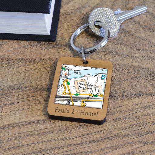 Personalised Wooden Middlesborough-Riverside Stadium Map Keyring