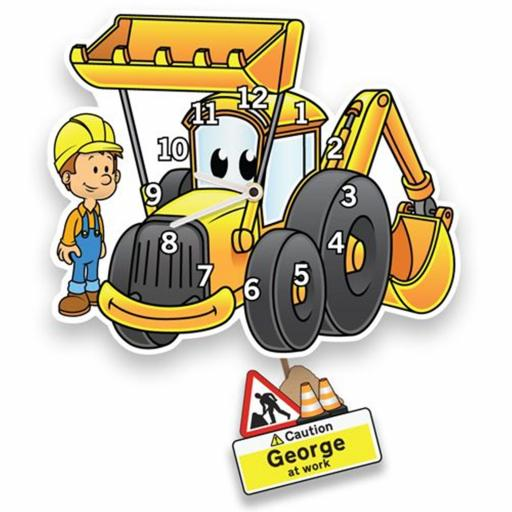 Boy's Personalised Yellow Digger Quartz Wall Clock with Pendulum