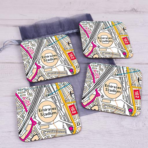 Set Of 4 Arsenal-Emirates Stadium Map Coasters