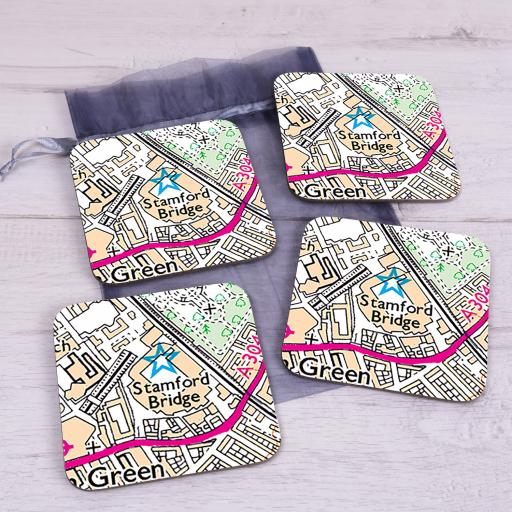 Set Of 4 Chelsea-Stamford Bridge Stadium Map Coasters