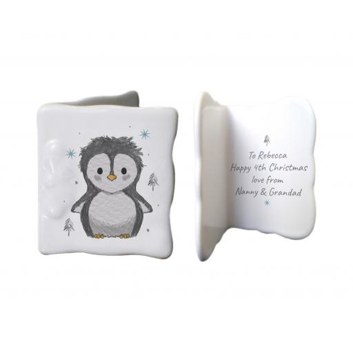 Personalised Pebbles Penguin Bone China Card
