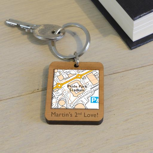 Personalised Wooden Derby County-Pride Park Stadium Map Keyring