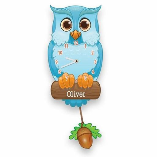 Boy's Personalised Blue Owl Quartz Wall Clock with Pendulum