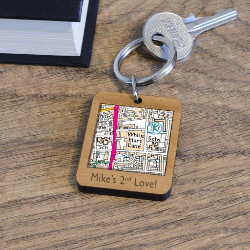 Personalised Wooden Tottenham Hotspurs-White Hart Lane Stadium Map Keyring
