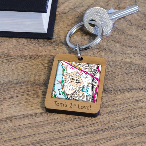 Personalised Wooden Sunderland-Stadium of Light Map Keyring