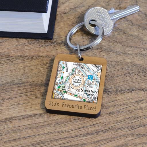 Personalise Wooden West Ham United-London Stadium Map Keyring
