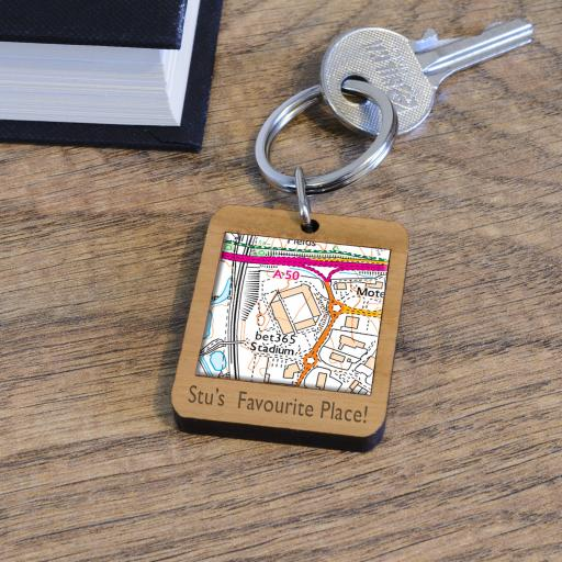 Personalised Wooden Stoke City-bet365 Stadium Map Keyring