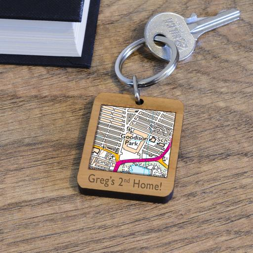 Personalised Wooden Everton-Goodison Park Stadium Map Keyring