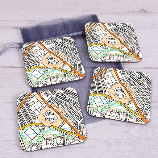 Set Of 4 Aston Villa-Villa Park Stadium Map Coasters