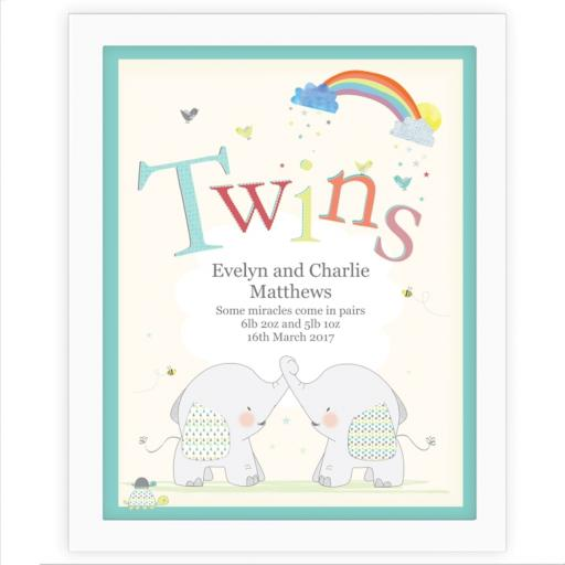 Personalised Twins White Framed Elephant Poster Print 40 x 33cm