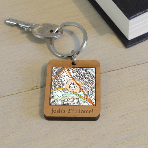 Personalised Wooden Aston Villa-Villa Park Stadium Map Keyring