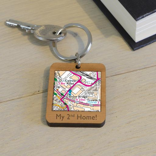 Personalised Wooden Norwich City-Carrow Road Map Keyring