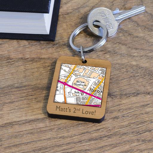 Personalised Wooden Rangers-Ibrox Map Keyring