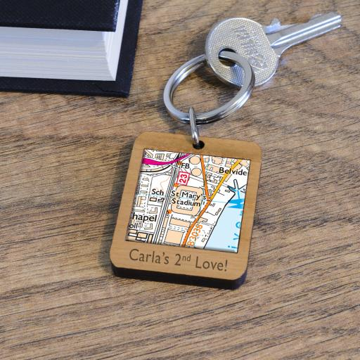 Personalised Wooden Southampton-St Mary's Stadium Map Keyring
