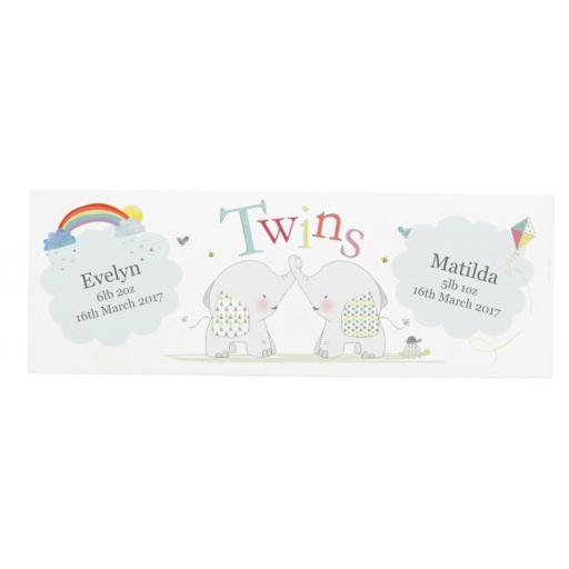 Personalised Twins White Elephant Design Mantel Block (Solid Wood)