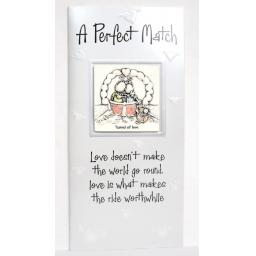 "Angels at Heart ""A Perfect Match"" Greeting Card with Removable 3D Fridge Magnet Keepsake"