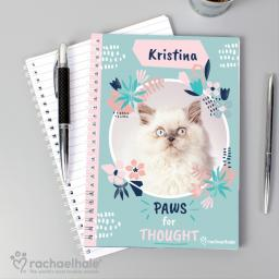 Personalised Rachael Hale ''Paws for Thought' Cat A5 Notebook