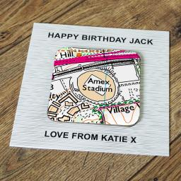 Personalised Card with Coaster Brighton and Hove Albion-Amex Stadium Map