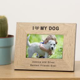 Personalised 6x4 I (Heart) My Dog Wooden Frame Portrait or Landscape