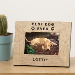 Personalised 6x4 Best Dog Ever Wooden Frame Portrait or Landscape