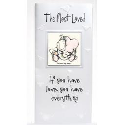 "Angels at Heart ""The Most Loved"" Greeting Card with Removable 3D Fridge Magnet Keepsake"