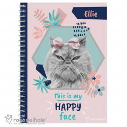 Personalised Rachael Hale ''Happy Face' Cat A5 Notebook