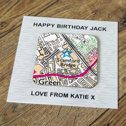 Personalised Card with Coaster Chelsea-Stamford Bridge Stadium Map