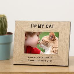 Personalised 6x4 I (Heart) My Cat Wooden Frame Portrait or Landscape