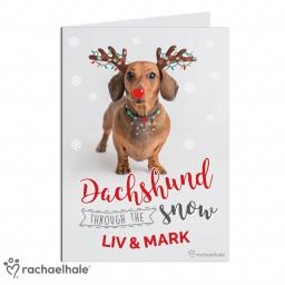 Personalised Rachael Hale Christmas Dachshund Through the Snow Card