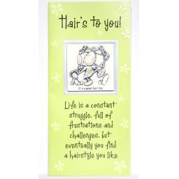 "Angels at Heart ""Hair's to You!""Humorous Greeting Card with Removable 3D Fridge Magnet Keepsake Green"