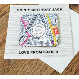 Personalised Card with Coaster Derby County-Pride Park Stadium Map