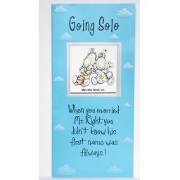 "Angels at Heart ""Going Solo""Humourous Greeting Card with Removable 3D Fridge Magnet Keepsake"