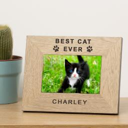 Personalised 6x4 Best Cat Ever Wooden Frame Portrait or Landscape
