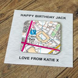 Personalised Card with Coaster Celtic-Celtic Park Stadium Map