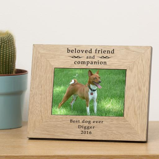 Personalised 6x4 beloved friend and companion Wooden Frame Portrait or Landscape